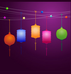 Chinese lanterns hanging on the line vector