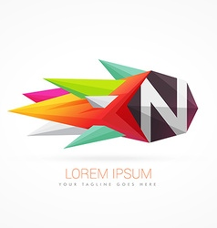colorful abstract logo with letter N vector image