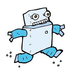 Comic cartoon running robot vector