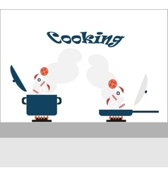 Cooking - adding ingredients in a saucepan and a vector image