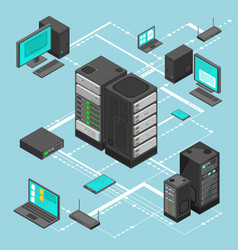 data network management isometric map vector image