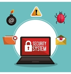 data protection security system network vector image