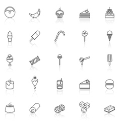 Dessert line icons with reflect on white vector