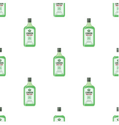 Dry gin bottles seamless pattern alcohol drink vector