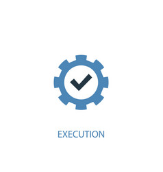 Execution concept 2 colored icon simple blue vector