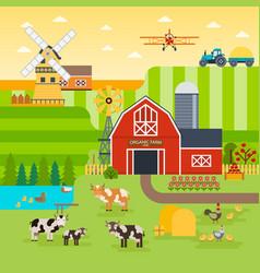 Farm flat landscape organic food concept vector