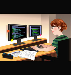 Female programmer coding on a computer vector