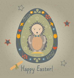 festive easter egg with cute character in funny vector image