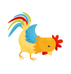 flat icon of rooster farm bird with yellow vector image