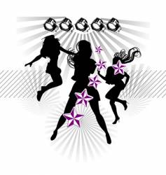 girls silhouette show stars vector image