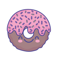 Glazed sweet donut cartoon food cute flat style vector