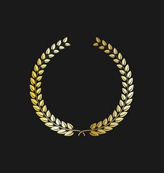 golden laurel wreath icon shape silhouette vector image