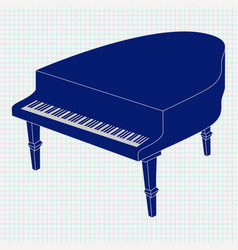 Grand piano on notebook sheet vector