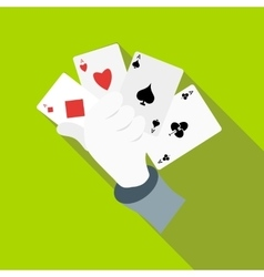 Hand in glove holding four playing cards icon vector