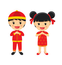 Happy chinese new year boy and girl in vector