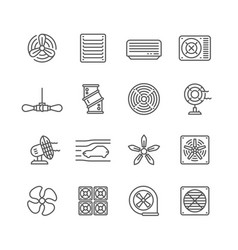 Heating and cooling airflow pictograms vector