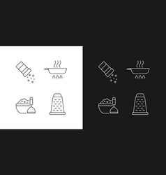 Home cooking linear icons set for dark and light vector
