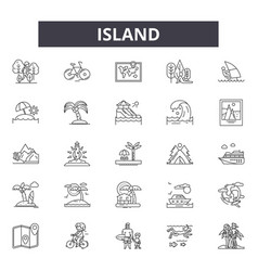 island line icons signs set outline vector image
