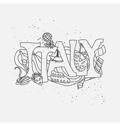 Italy hand-drawn design vector image