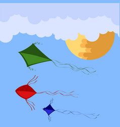 kites flying in blue sky with sun and clouds vector image