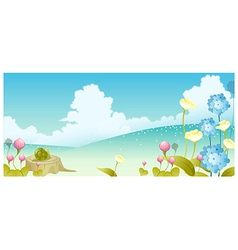 Landscape flowers and sky vector image