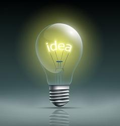 Light bulb with the word idea vector