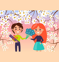 little boy makes gift to young girl vector image
