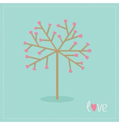 love tree with hearts and word flat design vector image