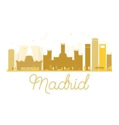 Madrid city skyline golden silhouette vector