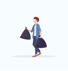 Man holding two garbage bags young guy housework vector