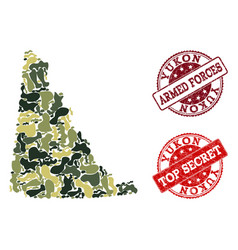 Military camouflage composition of map of yukon vector