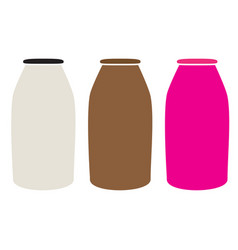 Milk bottles icon on white background milk vector