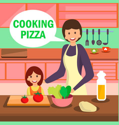Mother and daughter cooking pizza vector