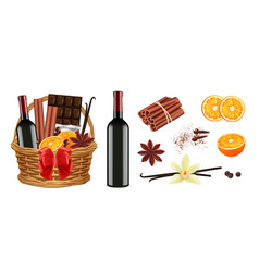 mulled wine pack realistic christmas basket vector image