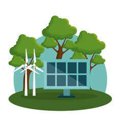 panel solar and windmill energy alternatives vector image