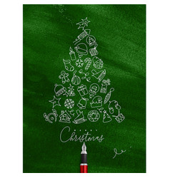 Pen line drawing christmas tree green vector