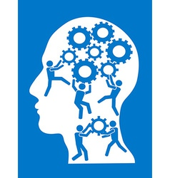 people working in gears brain vector image