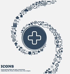 Plus icon sign in the center Around the many vector image