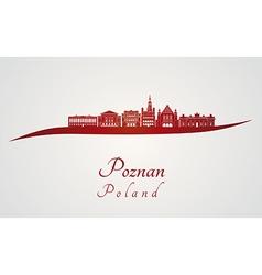 Poznan skyline in red vector image