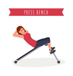Press bench workout flat vector