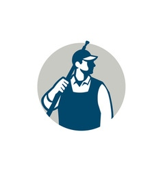 Pressure Washer Worker Circle Retro vector image