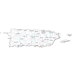 Puerto Rico Black White Map vector image