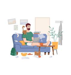 Quarantine freelancer work from home distant work vector