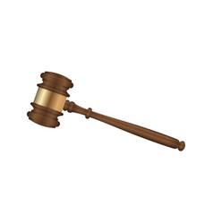 Realistic wooden judge gavel vector