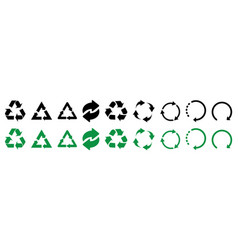 recycle icons set of black and green recycle icons vector image