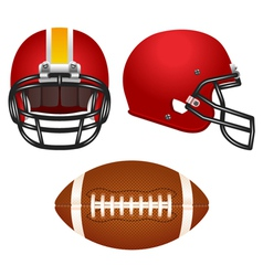Red football helmet set vector