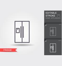 refrigerator line icon with editable stroke vector image