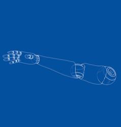 robot hand outline rendering 3d vector image