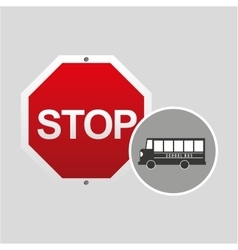 School bus side stop road sign design vector