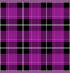 seamless black purple tartan with white stripes vector image